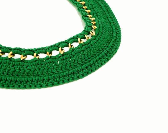 Summer Fashion Green Chain Crocheted Collar Bib Necklace