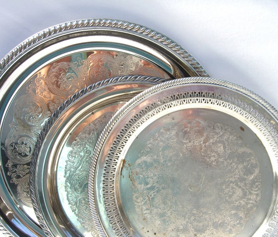 Silver Trays : Vintage Silver Plate Set of 3 Shabby Chic Trays