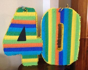 40 Large Number Pinatas. Custom Pinata. Any Number Pinata. 40th birthday.  Sweet 16. Quinceanera