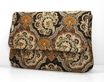 Clutch - Black, Brown, and Tan with Gold Metallic Highlights - Ready to Ship