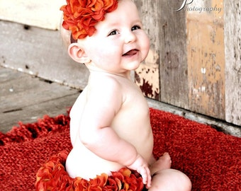 Fall Diaper Cover Orange and Brown Hydrangea Diaper Cover & Headband Fall Photo Prop, Autumn, Pumpkin, Thanksgiving Photo Prop, Newborn Prop