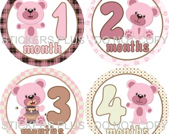 Baby Month Stickers Plus FREE Gift Monthly Milestone Stickers Honey Bear Pink Brown Cream - 1-12 Months Baby Age Stickers Photo Prop