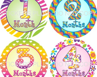 Baby Month Stickers Plus FREE Gift Girl Rainbow Prints PRECUT Bodysuit Baby Stickers Monthly Baby Stickers Baby Age Stickers Photo Prop