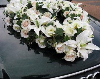 Heart  Of Lilies, Roses & Vines Wedding Car Decoration