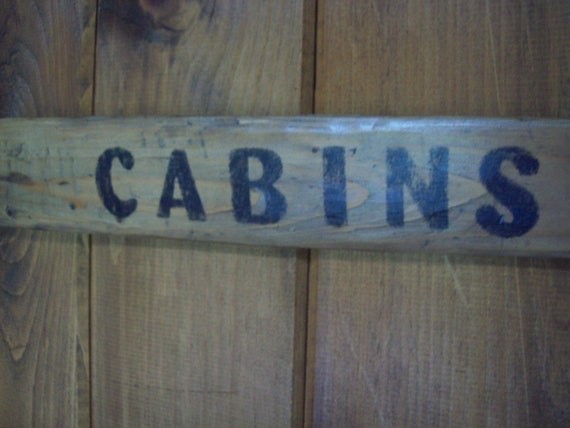 SALE- Hand Painted Vintage Style Cabins Sign / Cabin Decor / Rustic Signage