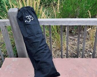 Yoga mat bag, Black Embroidered Om, Unique water bottle pocket, upcycled, eco friendly