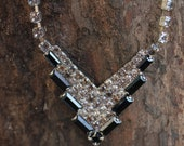 Vintage Black and White Rhinestone Necklace Prom or Bride