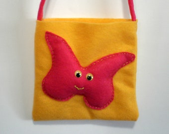 Felt Purse - Little Girls Handbag - Butterfly, handmade butterfly bag for little girls, yellow bag