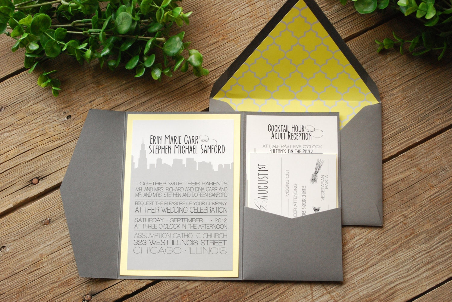 wedding invitation chicago skyline grey and yellow with, Wedding invitations