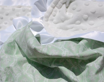 Green Damask Minky Blanket with Satin Trim- Ready to Ship