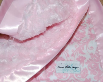 Pink and White Damask Minky Blanket with Satin Trim