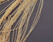 16ft (5m) -1.5mm Gold Plated brass Chain Flat O-shaped Chain Small Necklace Chains/ Jewelry Links tL196