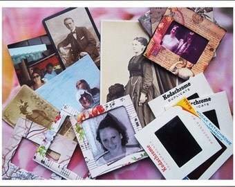 Mini Photo Frames, Dolls House Size Picture Frames,Photo Slides, Photo Mounts, Assemblage Mixed Media : 16 Mixed & Varied 35mm Slides
