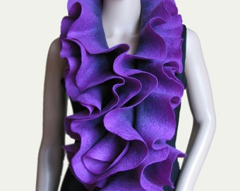 Long ruffle felted scarf Jabot Neck warmer Plum Purple Lilac