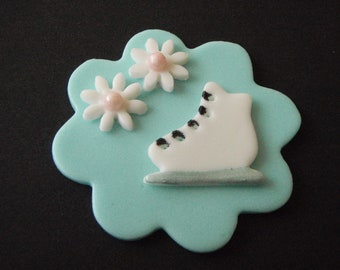 Ice Skate Fondant Cupcake Topper Decoration- can be personalized - perfect for Ice skating, Winter and Princess parties