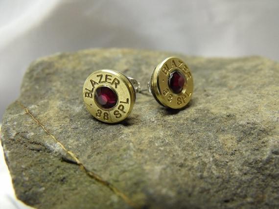 Steampunk Bullet Stud Earrings 38 Special Magenta Rhinestone