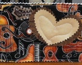 Unique Quilted Postcard - Musical Instruments