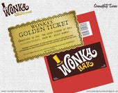 Willy Wonka Chocolate bar wrapper and golden ticket - Invitation - replica version.