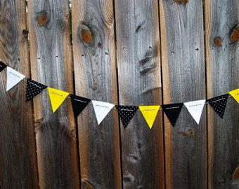 Black and Yellow Felt Bunting with Polka Dots and Bakers Twine