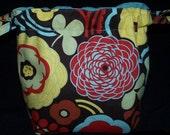 Knitting Drawstring Pouch / Crochet Drawstring Bag / Wristlet Bag
