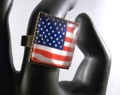 American Flag RING United States Glass Square Bronze Band Soldiers Veterans Adjustable