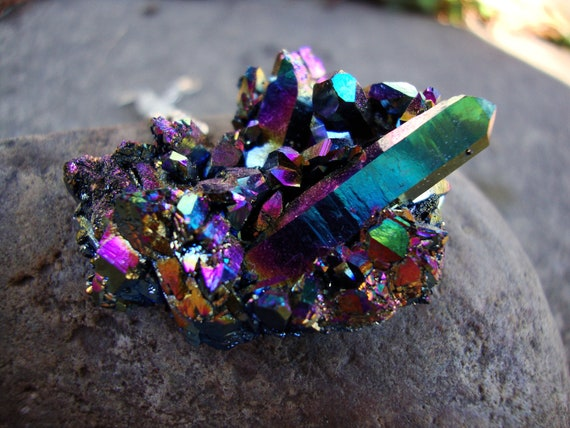 Reserved for Katie HUGE heart shaped titanium rainbow aura crystal cluster necklace