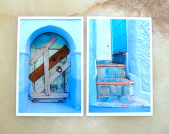 MOROCCAN PHOTOGRAPHY - blue Chef Chaouen - locked faded door  - old stairs -  blue - rinsed walls   -  photo prints  - 4 x 6  -