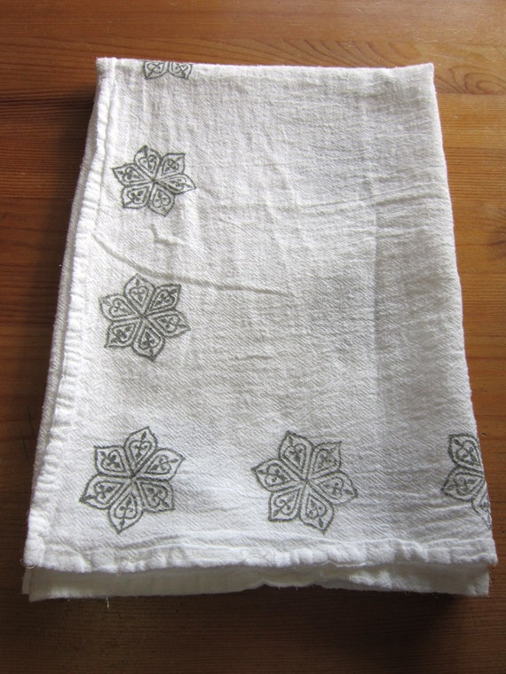 1 grey India block print tea towel