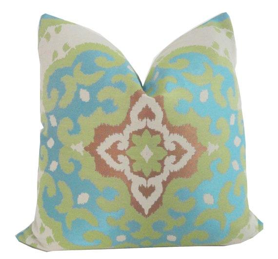 Blue Ikat Jacquard Designer Pillow Cover 18x18, 20x20 or 22x22