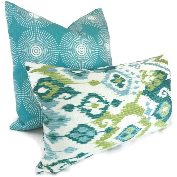 SALE Aqua and Green Ikat Decorative Pillow Cover Lumbar