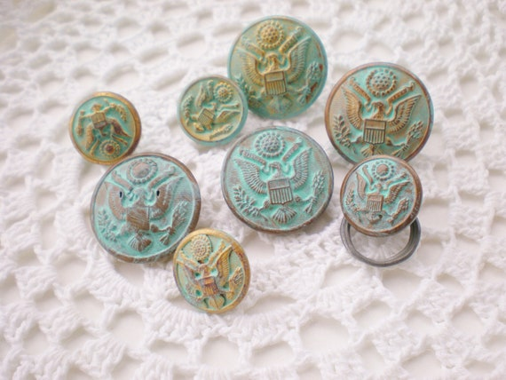 Vintage Buttons Military Waterbury HandPainted Sea Glass Blue Lot (8)