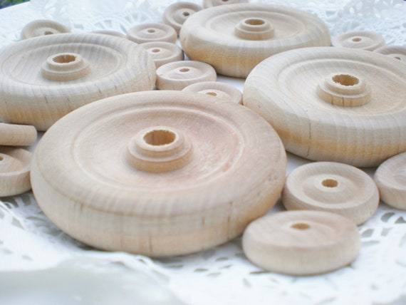 RESERVED Vintage Wheels Wood Circles Craft Supplies Raw Natural -20 Pieces