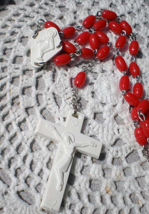 RESERVED Rosary Vintage Red White Lot of 3