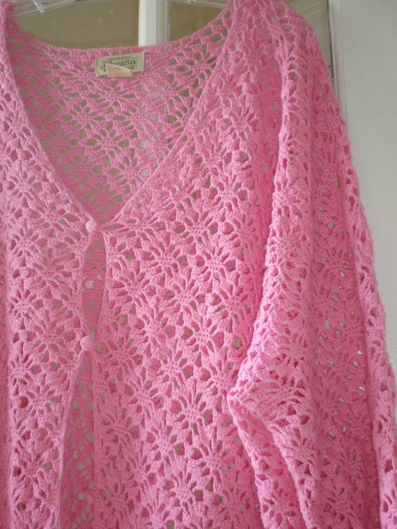 Vintage Pink Sweater Crochet Plus Size Cardigan