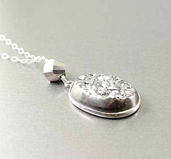 Titanium druzy necklace sterling silver druzy necklace, agate druzy jewelry stone coated with titanium, sparkly, shiny pendant by NatureLook