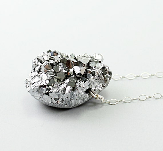 Silver necklace: amethyst druzy necklace titanium necklace drusy pendant, luxury jewelry sparkly drusy gray
