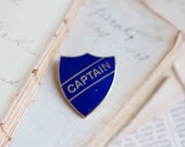 Captain Old School Badge - Blue on Gold Brass pin Brooch