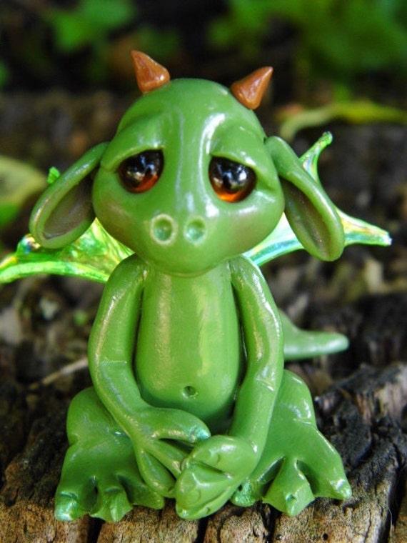 """OOAK Handmade Polyemer Clay Tiny Woodland  Baby Dragon """"Vestor"""" Fantasy Art Doll"""