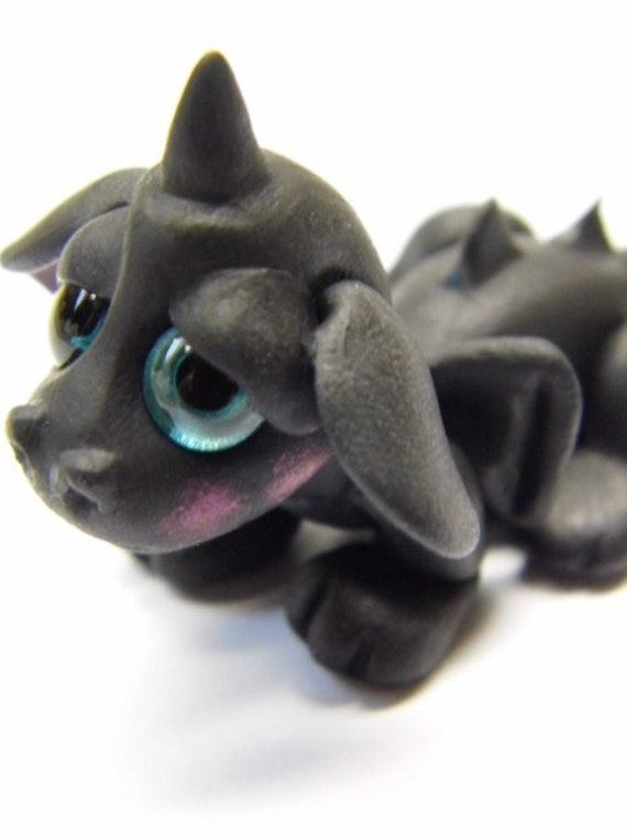 "OOAK Handmade Polymer Clay Tiny Baby Dragon ""Zephyr"" Fantasy Art Doll"