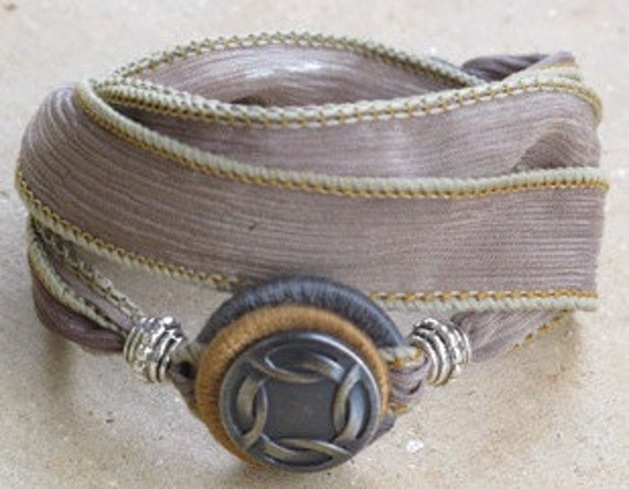 Silk Whirly Wrap Bracelet in slate sand and earth with a silver Celtic love knot  neutral colors elegant