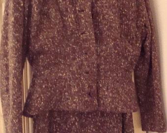 Brown tweed suit 1940s featuring bomber jacket