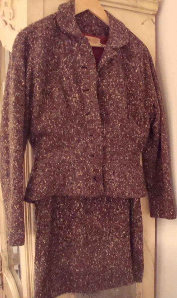 Brown tweed suit 1940s featuring bomber jacket