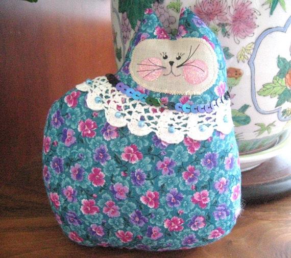 Cat Pillow Doll, Cloth Doll 7 inch Teal Floral, Primitive Soft Sculpture Handmade CharlotteStyle Decorative Folk Art