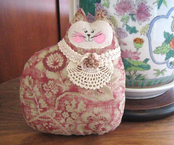 Cat Pillow Doll, Cloth Doll 7 inch Brick Red and Tan, Primitive Soft Sculpture Handmade CharlotteStyle Decorative Folk Art