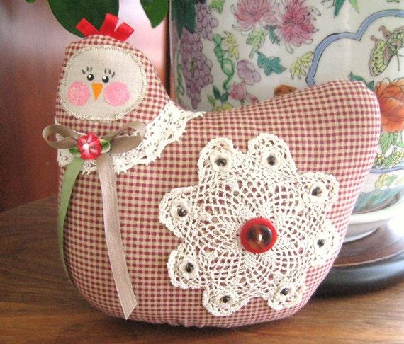 Hen Pillow Doll, Cloth Doll Chicken 7 inch Dark Red Check, Primitive Soft Sculpture Handmade CharlotteStyle Decorative Folk Art