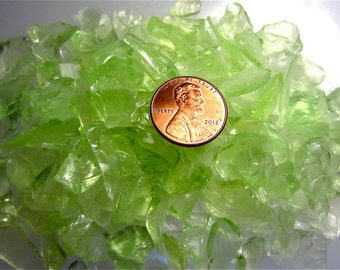 Chartreuse Green Transparent Glass Chips Recycled 1/2 pound (C107)