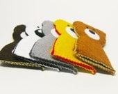 Bear felt finger puppet - 1 pcs - you choose color, Soft Felt Animal Toy, kids, children, baby, nursery, handmade gift