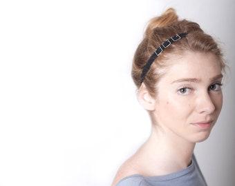 Black Grey Woman Headband Belt Buckle