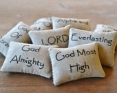 Names of God Decorative Pillows - Religious Bowl Fillers - Primitive Tucks - Bible Scripture - Home Decor - Black Gingham - Hand Embroidery