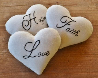 Faith Hope Love Decorative Pillows - Heart Bowl Fillers - Christian Tucks - 1 Corinthians Wedding Valentines Day Decor - Black Ticking